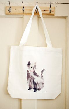 Grey Cat - printed tote bag. $22.00, via Etsy.