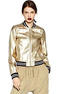 Senchanting Women's Metallic Color PU Leahter Bomber Jacket(Gold,Small) ❤ ...