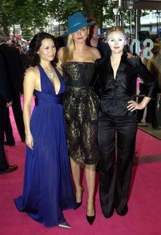 "Lucy Liu, Cameron Diaz, and Drew Barrymore at the premiere of ""Charlie's Angels II: Full Throttle"" held on July 2003 in London, England. Cameron Diaz, Kim Novak, Lucy Liu, Drew Barrymore, Leather Dresses, Prom Dresses, Formal Dresses, Celebs, Female Celebrities"