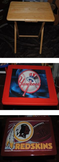 Decoupage Sports Themed TV Trays made with Mod Podge