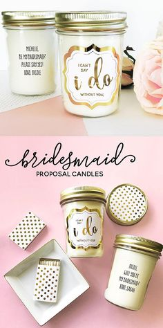 Will You Be My Bridesmaid Candle Will You Be My Bridesmaid Proposal Candle Unique Bridesmaid Gift Id