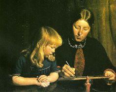 Michael Peter Ancher (1849-1927): anna ancher lcerer sin datter helga at tegne