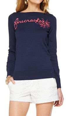 Lilly Pulitzer Marielle Boatneck Intarsia Sweater in Firecracker
