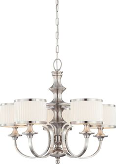 5-Lights Brushed Nickel Chandelier with White Pleated Shade