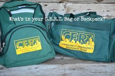What's In Your C.E.R.T. Bag by Food Storage Moms
