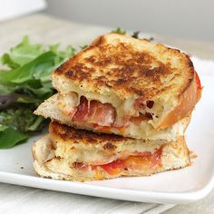 Garlic-Rubbed Grilled Cheese with Bacon and Tomatoes - Grilled cheese is such a serious comfort food for me, and this was super tasty, I would be all for having it frequently!