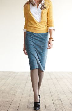 If I had unlimited funds, I'd dress so awesomely. . . like this. Halogen Skirt, Blouse and Wrap-Front Sweater | Nordstrom