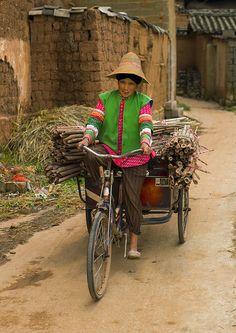 Bringing home the woods . Tong Hai, Yunnan Province, China
