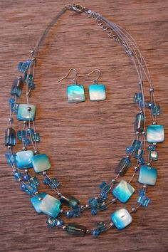 Shell & Glass Bead Necklace and Earring Set J by SCSouthernStyle