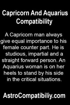 "aquarius woman dating capricorn man 42 thoughts on "" compatibility aquarius and i'm an aquarian that was 'supposed' to be a capricorn i'm a lovely libra woman dating an aquarius man."
