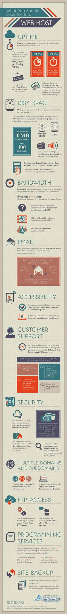 What You Should Look for in a Web Host. Infographic. Key Concerns For Anyone Seeking a New Web Host