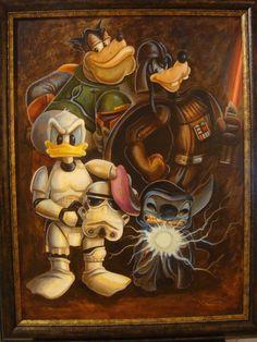 Star Wars meets Mickey and his gang! Art Disney, Disney Love, Decoracion Star Wars, Disney Crossovers, Marvel, Star Wars Humor, Love Stars, Disney Star Wars, Disney Cartoons