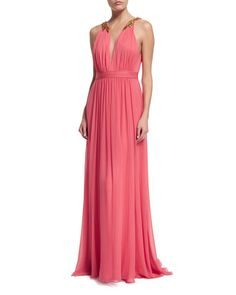 TBRE7 Marchesa Notte Sleeveless Chiffon Gown with Beaded Accent