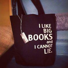 """I like big books and I cannot lie"" canvas tote bag from beanblossom via Etsy."