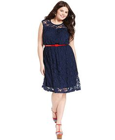 45$ - Love Squared Plus Size Dress, Sleeveless Lace Belted - Plus Size Dresses - Plus Sizes - Macy's