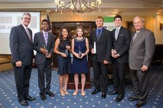 Each year, the NFIB Young Entrepreneur program offers non-renewable scholarships that recognize young people who have demonstrated entrepreneurial spirit and initiative with college scholarship, ranging in value from $1,000 to $15,000. Here are last year's winners with NFIB board member Kurt Summers and NFIB president & CEO Dan Danner. Board Member, Young Entrepreneurs, Scholarships For College, Bridesmaid Dresses, Wedding Dresses, Young People, Dan, Foundation, Spirit