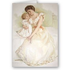 Greeting card of Mother listening to her child's prayer.