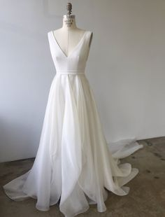 White Tulle V Neck Long Prom Dress, White Evening Dress from Girlsprom - Hochzeit Perfect Wedding, Dream Wedding, Wedding Day, Spring Wedding, Wedding Stuff, Wedding Photos, V Neck Wedding Dress, One Shoulder Wedding Dress, Wedding Dress Simple