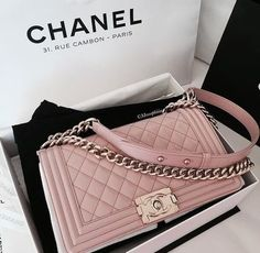 chanel pink bag leather