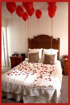 Everyday Art: Thoughtful Valentine's Gift for Him. Rose petals, photos, balloons on bed. Romantic.