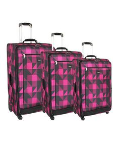 Loving this Pink Block Crescent Three-Piece Wheeled Luggage Set on #zulily! #zulilyfinds
