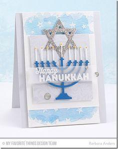 Happy Hanukkah, Garden Flourish Background, Star Celebration Background, Blueprints 12 Die-namics, Hanukkah Light and Love Die-namics - Barbara Anders #mftstamps