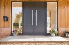 41 Ideas for wooden door architecture Contemporary Front Doors, Modern Entrance, Modern Front Door, Double Front Doors, House Front Door, House Doors, House Entrance, Double Entrance Doors, Home Door Design