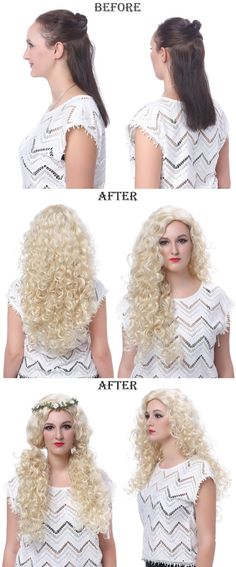 hair extension Before and After  OneDor Fashion Long Hair Natural Curly Wavy Full Head Wigs