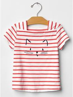 "Embroidered square-neck graphic tee with cat ""it's meow or never"" at gap kids"