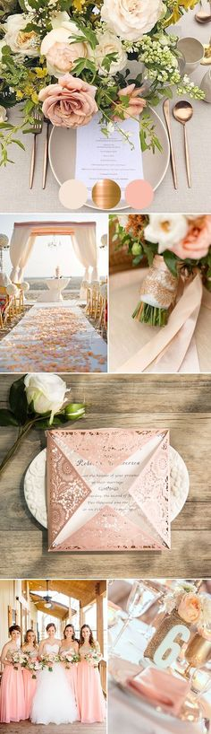 pink and gold glamorous wedding ideas and invitations