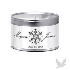 NEW! 8oz Snowflake Candle Wedding Favor -Vanilla
