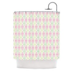 "Julie Hamilton ""Woven Wrap"" Pink Green Shower Curtain"