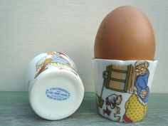 Staffordshire Bone China Nursry Rhyme Egg Cups, Children's Tableware