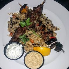 Downtown Campbell: Opa Greek Cuisine in Campbell Ca.  Lamb and Beef Soulvalki with a Fava Bean Hummus and Rice Pilaf $16 Cooked perfectly and the additional spice in the hummus.  Highly impressed.  #thestylishwino # by thewinemistress
