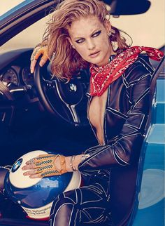 Elle Canada September 2016 Ride or Die Fashion Direction by Juliana Schiavinatto Hair & Makeup by Susana Hong Photography by Max Abadian Model: Patricia Van Der Vliet, Elite Toronto High Speed Photography, Fashion Photography, Alfred Stieglitz, Vintage Leather Jacket, Races Fashion, Car Girls, Vintage Pins, Leather Design, Leather Fashion
