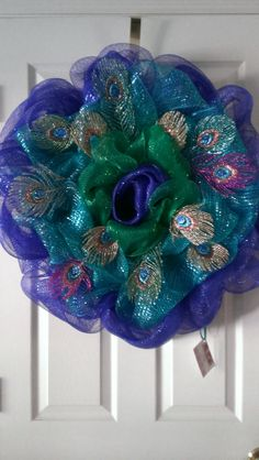 Vibrant Exotic Peacock Inspired Deco Mesh Wreath with by MisSuenos, $40.00