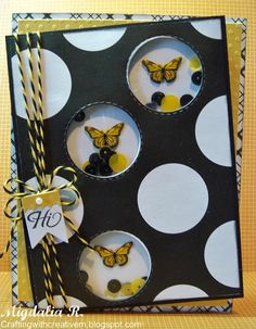 Butterfly Shaker card with the Bumblebee Trendy Twine & Bumblebee Sequins from Annie's Paper Boutique and Bunch of Fun Circle Dies & Teeny Tags Greetings from my Creative Time.