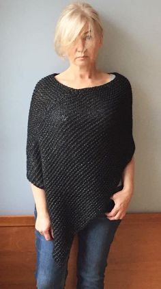 Black alpaca poncho Knit alpaca wrap Oversized knitwear Loose hand knit poncho Knit Grey alpaca wrap