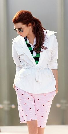 classic navy and green striped shirt paired with a white pullover...mixed with a modern patterned pair of shorts (pale pink with burgundy)
