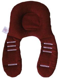 NeckyDrive 114102 - Cojín reposacabezas para maxi-cosi (aprox. 35 x 24 cm), color rojo y beige