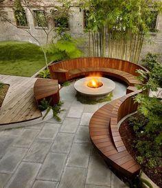 Backyard Seating, Backyard Patio Designs, Fire Pit Backyard, Garden Seating, Backyard Landscaping, Landscaping Ideas, Outdoor Seating, Backyard Pergola, Outdoor Spaces