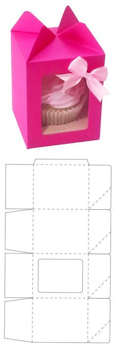 Pink cupcake box Free vector template