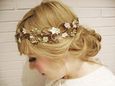 flower crown, birds and fresia old pink and vintage green hydrangea crown