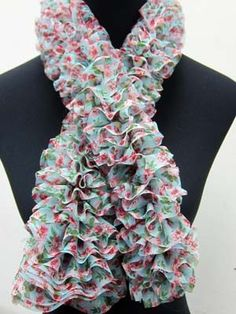 Blog has a lot of fun ideas for ruffle yarn, including fabric ruffle yarn (my next adventure!!)