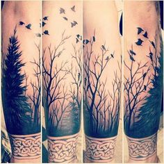 True color of forest tree fire full sleeve tattoo designs