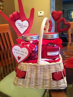 "If anyone needs any Valentine's Day gift ideas for your boyfriend/girlfriend, I put together this basket for my boyfriend and filled the jars with candy/cookies/etc. I also stuffed the basket with a pair of red Nike Elite socks that he will love. You're welcome.   *** The first jar says ""You're one in a million"" and is filled with red M&Ms and one giant Hershey kiss.   *** The second jar says ""Hooked on you since 11.14.12"" (our anniversary) and is filled with all gummy worms."