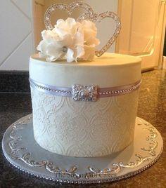 one tier damask wedding cake - Cake by sugarmillcakes