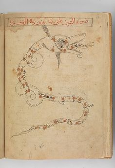 Draco (al-tinnin), the dragon, the sea serpent. Kitab suwar al-kawakib al-thabita (Book of the Images of the Fixed Stars) of al-Sufi Author: `Abd al-Rahman al-Sufi  (903–86) Object Name: Illustrated manuscript Date: late 15th century Geography: Iran Culture: Islamic Medium: Ink and gold on paper; leather binding Dimensions: H. 10 3/16 in. (25.8 cm) W. 7 1/8 in. (18.1 cm)