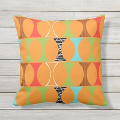 "Mid Century Modern Orange Outdoor Pillow Size: Throw Pillow 16"" x 16"". Gender: unisex. Age Group: adult. Patio Pillows, Outdoor Throw Pillows, Cushions, Orange Pattern, Retro Pattern, Modern Patio, Mid-century Modern, Orange Background, Mid Century"