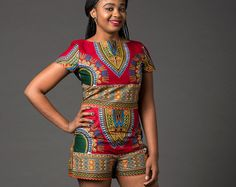 Dashiki shorts set, African print set for women, summer shorts & top set, handmade set, red print set, print set, dashiki set (RAMONA SET)